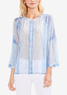 Vince Camuto Printed Button-Down Bell-Sleeve Blouse