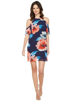 Vince Camuto Printed Chiffon Cold Shoulder Float
