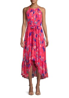 Vince Camuto Printed Chiffon Halter Dress