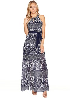 Vince Camuto Printed Chiffon Halter Maxi w/ Inset Pleating