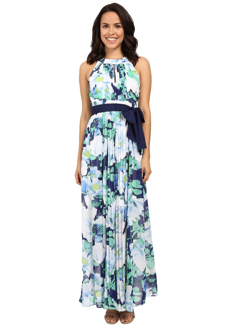 Vince Camuto Printed Chiffon Halter Maxi with Inset Pleating