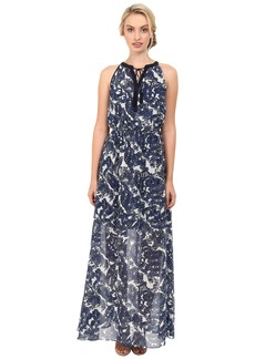 Vince Camuto Printed Chiffon Maxi Halter with Keyhole and Tassels