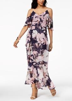 Vince Camuto Printed Cold-Shoulder Chiffon Maxi Dress