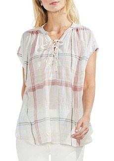 Vince Camuto Printed Collarless Blouse