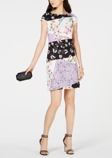 Vince Camuto Printed Colorblocked Sheath Dress