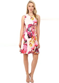 Printed Cotton Sateen Sleeveless Fit and Flare w/ Release Pleats