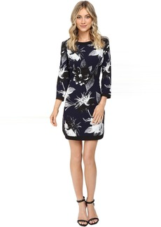 Vince Camuto Printed Crepe Tee Body with Combo Banding