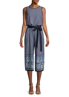 Vince Camuto Printed Cropped Wide-Leg Jumpsuit