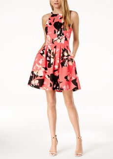 Vince Camuto Floral Printed Fit & Flare Pocket Dress