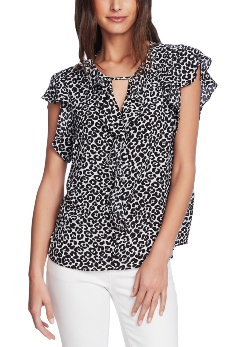 Vince Camuto Printed Flutter-Sleeve Blouse