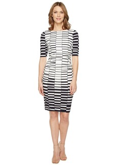 Vince Camuto Printed Knit Bodycon Dress with Ruching