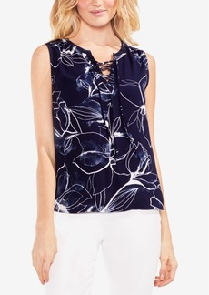 Vince Camuto Printed Lace-Up Top