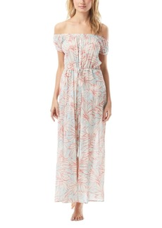 Vince Camuto Printed Off-The-Shoulder Cotton Cover-Up Maxi Dress Women's Swimsuit