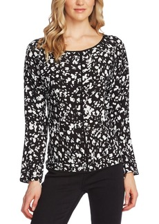 Vince Camuto Printed Pipe-Trim Top