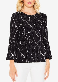 Vince Camuto Printed Pleated Blouse