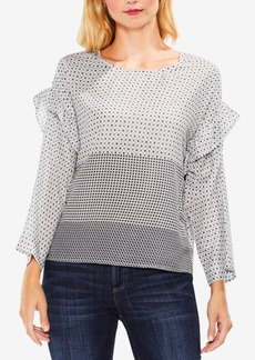 Vince Camuto Printed Ruffle-Shoulder Top