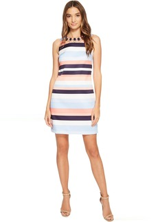 Vince Camuto Printed Satin Shift Dress with Beading
