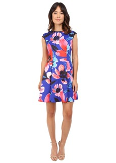 Vince Camuto Printed Scuba Extended Cap Sleeve Fit & Flare Dress