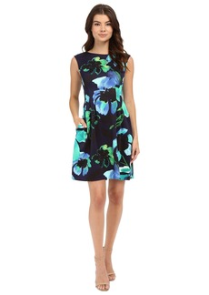 Vince Camuto Printed Scuba Extended Cap Sleeve Fit and Flare with Release Pleats