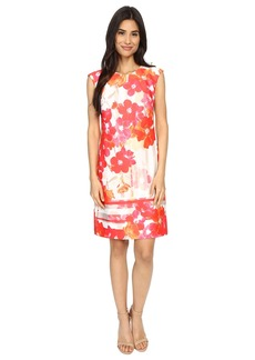 Vince Camuto Printed Scuba Extended Cap Sleeve Shift Dress