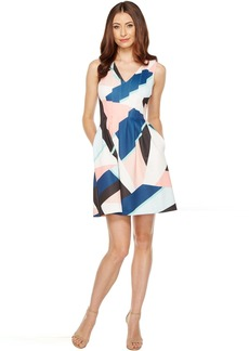 Vince Camuto Printed Scuba V-Neck Fit and Flare Dress