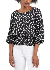 Vince Camuto Printed Smocked Dolman-Sleeve Top