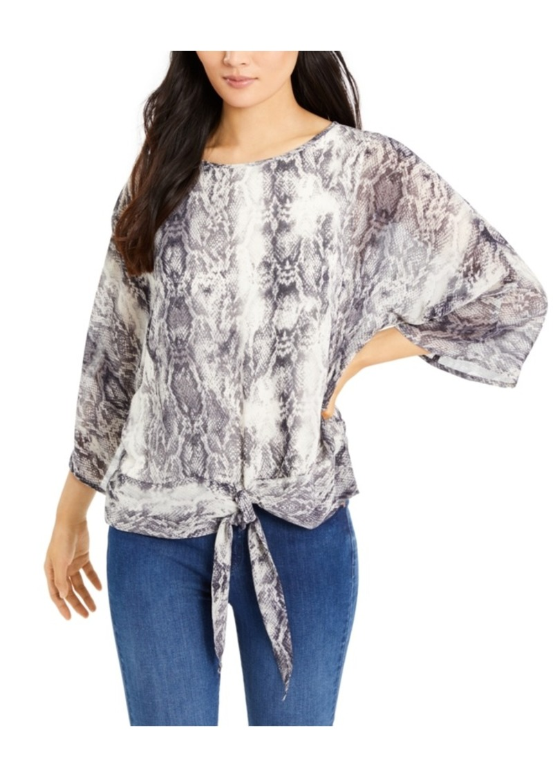 Vince Camuto Printed Tie-Front Blouse