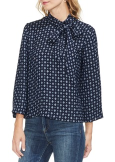 Vince Camuto Printed Tie Neck Blouse