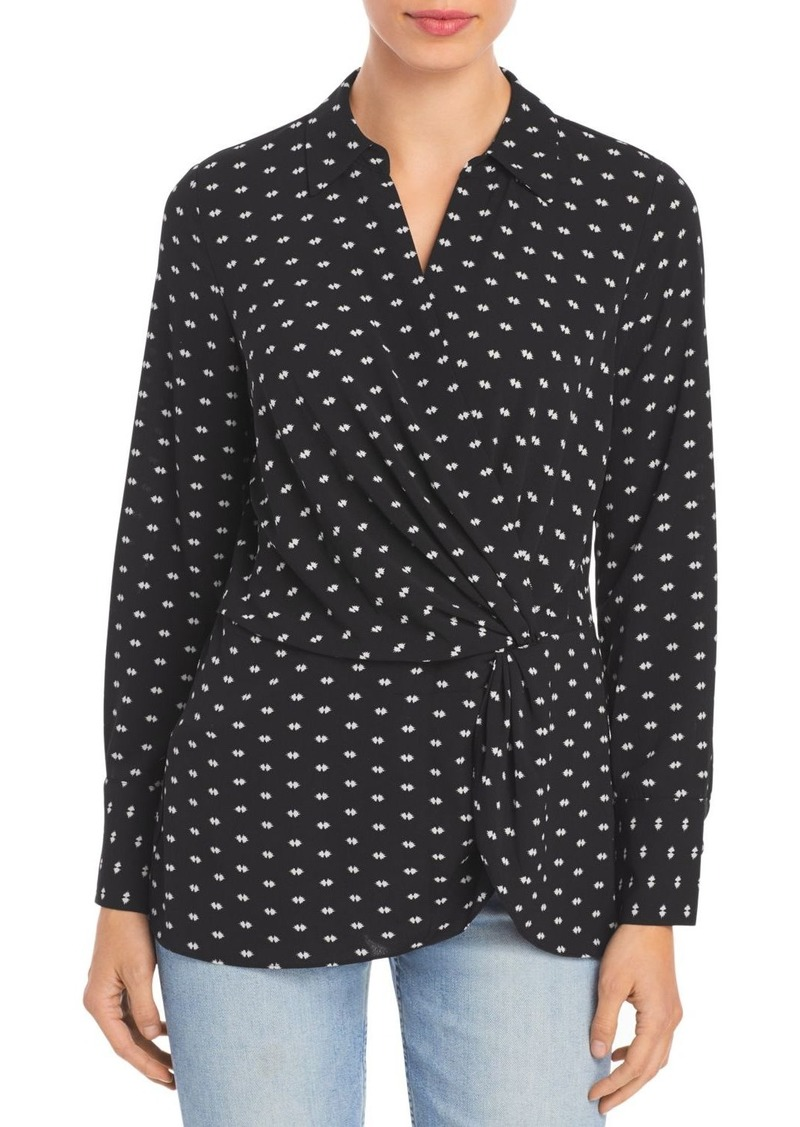 VINCE CAMUTO Printed Twist Front Top
