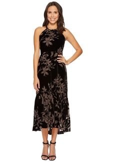Vince Camuto Printed Velvet Halter High-Low Midi Dress