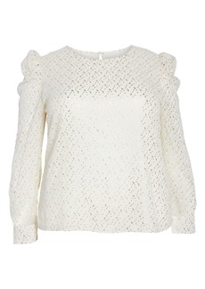 Vince Camuto Puff Shoulder Foiled Blouse