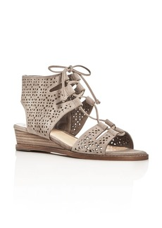 VINCE CAMUTO Retana Perforated Lace Up Demi Wedge Sandals