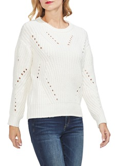 Vince Camuto Rib Pointelle Detail Cotton Blend Sweater (Regular & Petite)