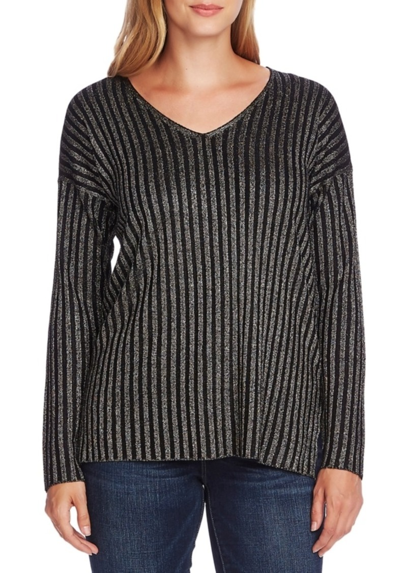 Vince Camuto Ribbed Metallic V-Neck Sweater