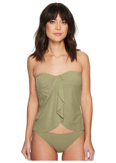 Vince Camuto Riviera Solids Draped Bandini Top w/ Soft Cups & Removable Strap