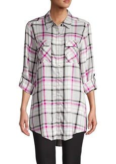 Vince Camuto Roll-Tab Plaid Tunic