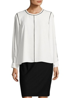 Vince Camuto Roundneck Long-Sleeve Blouse