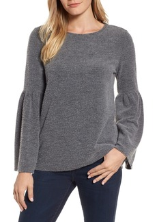Vince Camuto Ruched Bell Sleeve Fleece Top