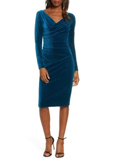 Vince Camuto Long Sleeve Ruched Stretch Velvet Dress