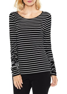 Vince Camuto Ruched Linear Stripe Top (Regular & Petite)