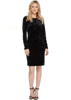 Vince Camuto Ruched Long Sleeve Knit Crushed Velvet Dress