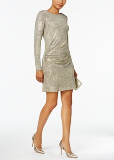 Vince Camuto Ruched Metallic Cowl-Back Dress