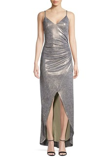 Vince Camuto Ruched Metallic High-Low Evening Dress