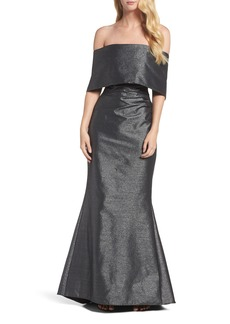 Vince Camuto Ruched Metallic Knit Off the Shoulder Gown