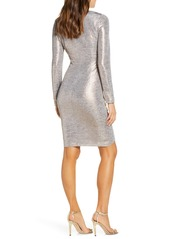 Vince Camuto Ruched Metallic Long Sleeve Cocktail Dress