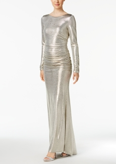 Vince Camuto Ruched Metallic V-Back Gown