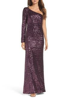 Vince Camuto Ruched Sequin One-Shoulder Gown