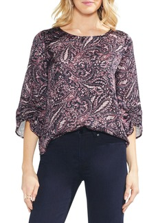 Vince Camuto Ruched Sleeve Boatneck Paisley Blouse