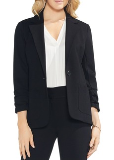 VINCE CAMUTO Ruched-Sleeve Ponte Blazer