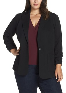 Vince Camuto Ruched Sleeve Ponte Blazer (Plus Size)